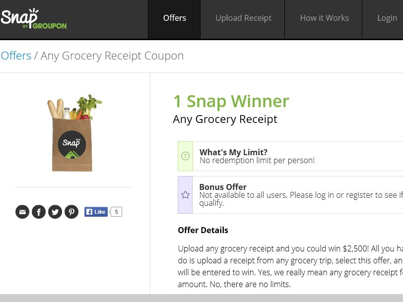 The Snap by Groupon's Any Grocery Receipt Sweepstakes