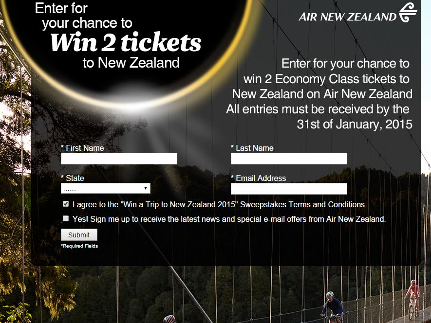 """The """"WIN A TRIP TO New Zealand 2015"""" Sweepstakes"""