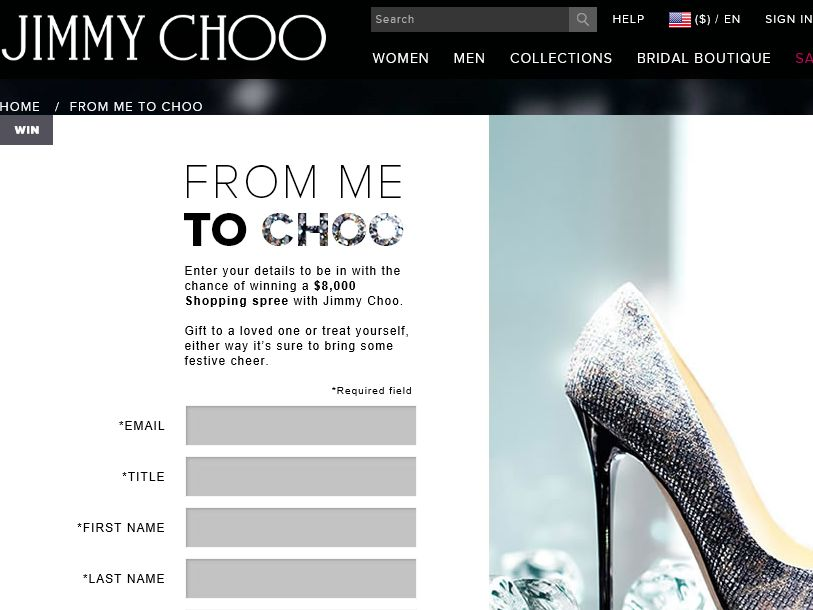 Jimmy Choo 'From Me To Choo' Competition