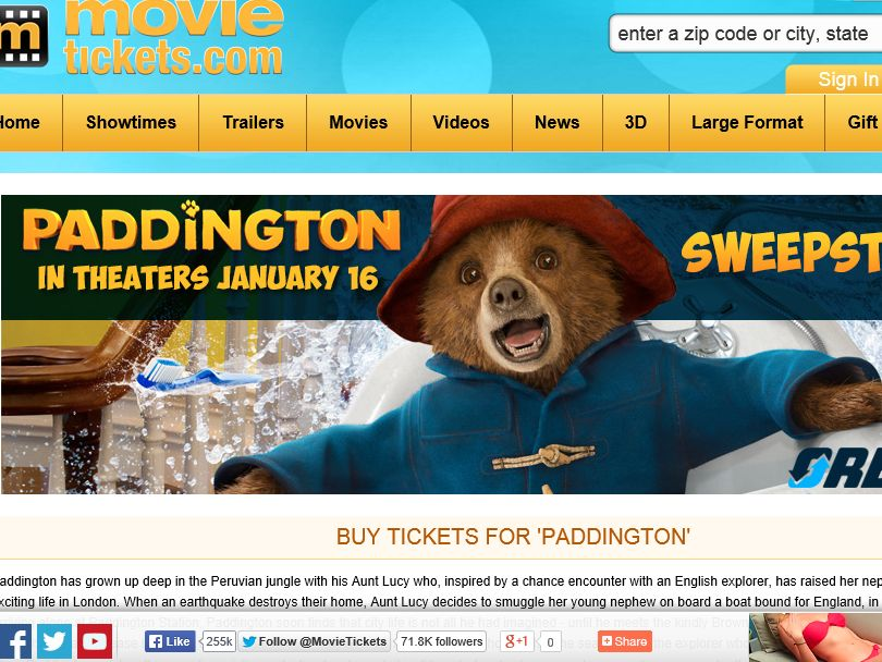 """MovieTickets.com """"The Paddington Movie"""" Sweepstakes"""