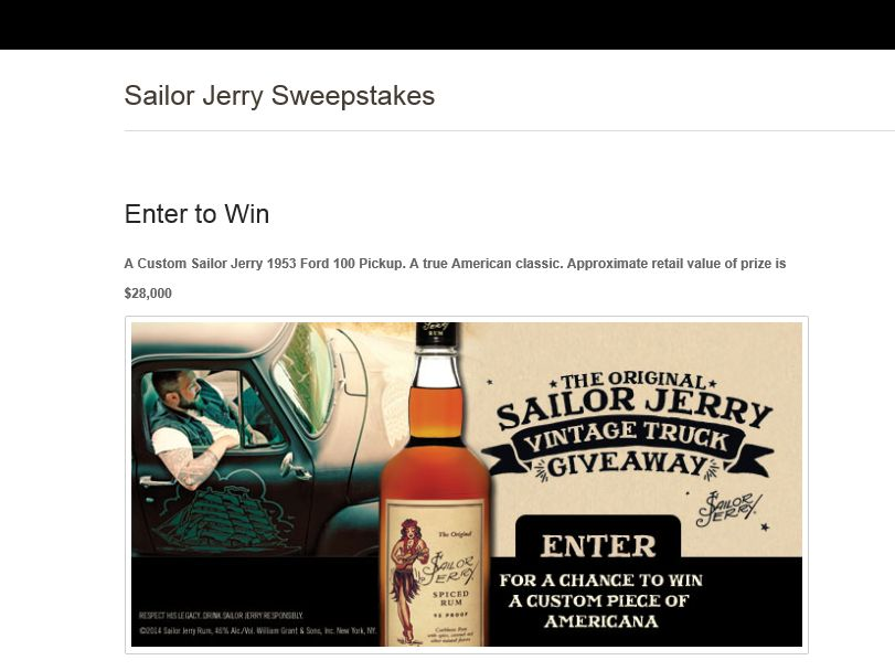 """Sailor Jerry """"Win a Vintage Sailor Jerry Truck"""" Sweepstakes"""