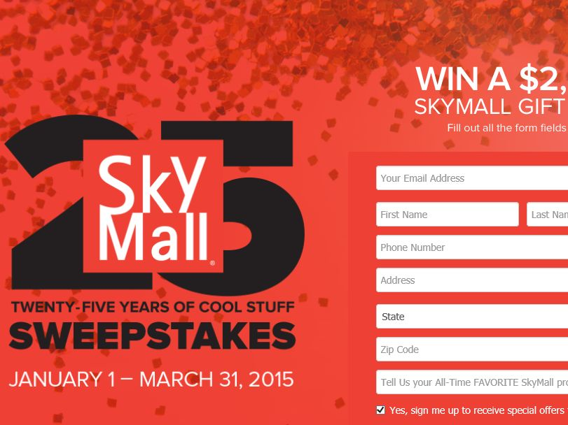 The SkyMall''s 25th Anniversary Sweepstakes