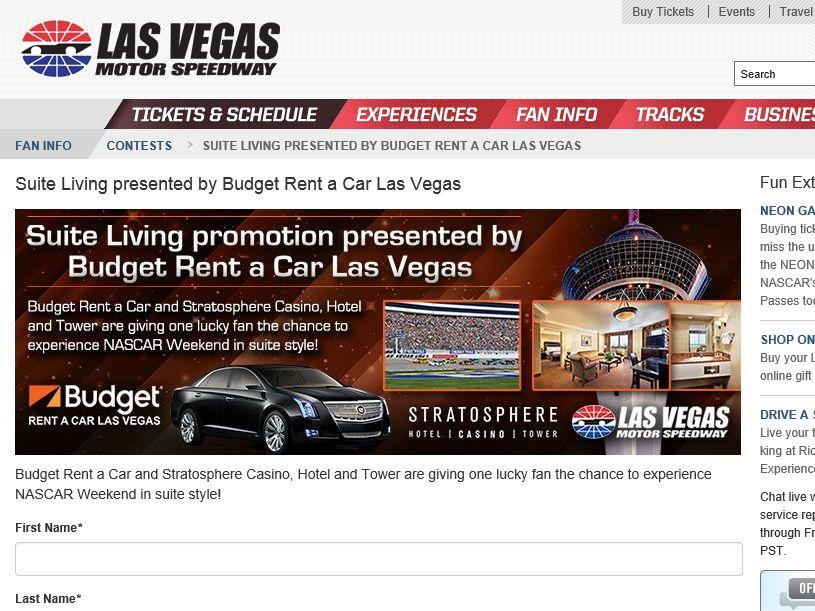 "The ""Las Vegas Motor Speedway Suite Living"" Sweepstakes"