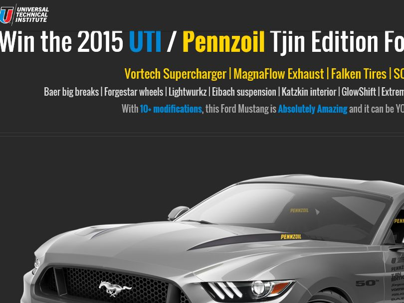 """The Ford """"2015 UTI Mustang"""" Sweepstakes"""