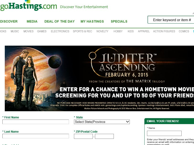 GOHASTINGS.com Jupiter Ascending Sweepstakes