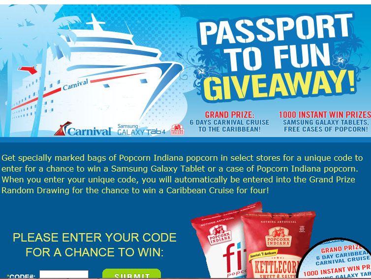 "Popcorn, Indiana ""Passport To Fun"" Sweepstakes"