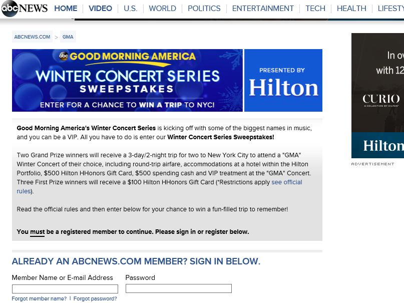 The Good Morning America Winter Concert Series Sweepstakes