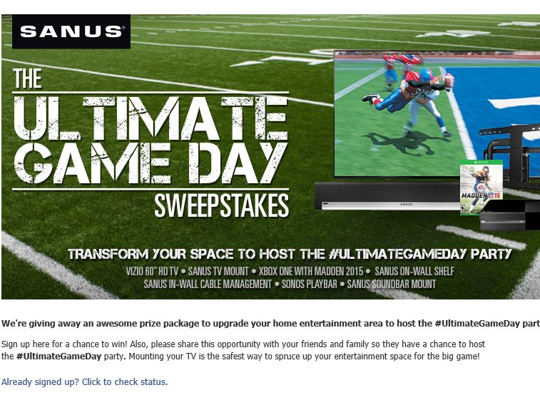 "SANUS ""Ultimate Game Day"" Sweepstakes"