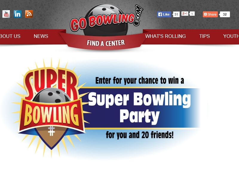 """GoBowling.com """"Super Bowling"""" Sweepstakes"""