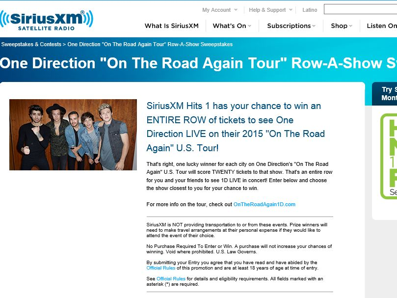 SiriusXM One Direction Hits-1 Row-A-Show Sweepstakes