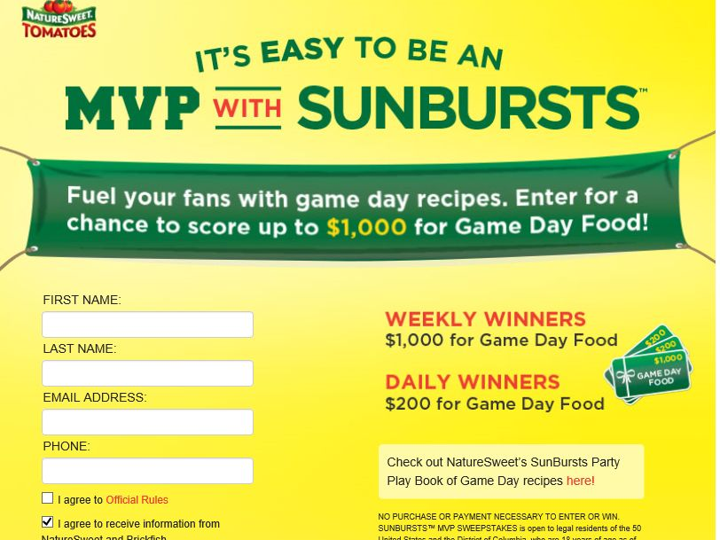 "NATURESWEET ""It's Easy to be an MVP with Sunbursts"" Text to Win Sweepstakes"