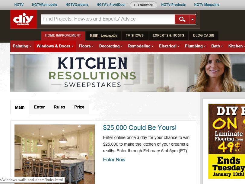 DIY Network Kitchen Resolutions Sweepstakes
