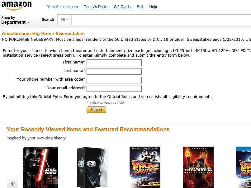 "The Amazon.com ""Big Game"" Sweepstakes"