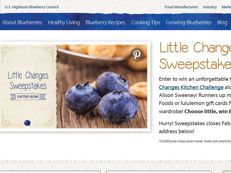 Blueberry Council Little Changes Sweepstakes