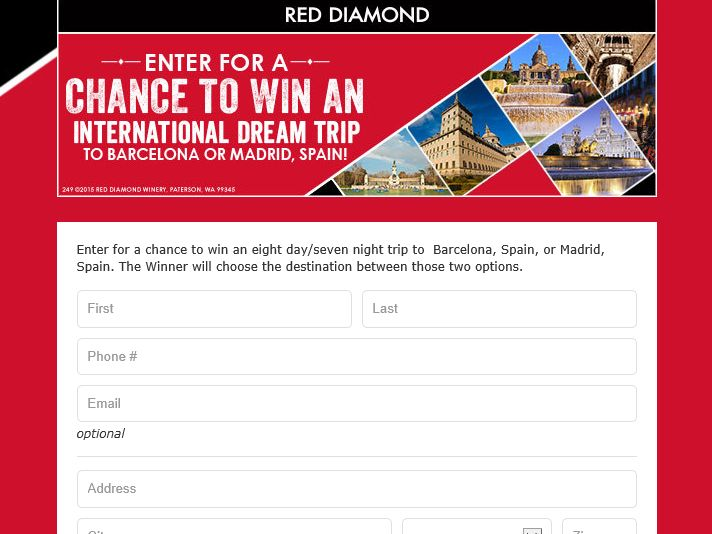 The 2015 Red Diamond Spain Vacation  Sweepstakes