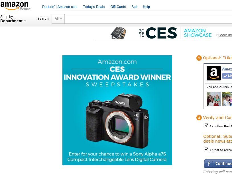 "Amazon.com ""CES Innovation Award Winner"" Sweepstakes"