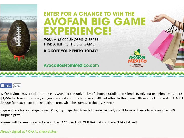 Avocados From Mexico AvoFan Big Game Experience Sweepstakes