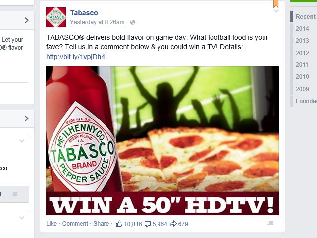 The TABASCO Bold Moments Sweepstakes – Comment Required