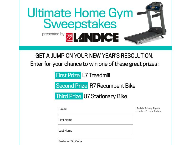 The Landice Ultimate Home Gym Sweepstakes