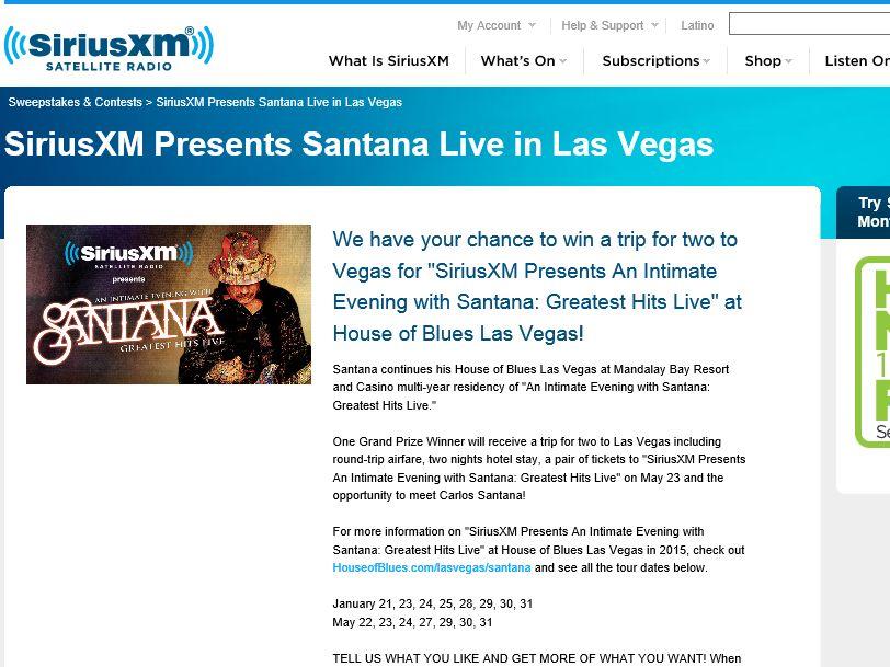 SiriusXM Santana Live in Las Vegas Sweepstakes