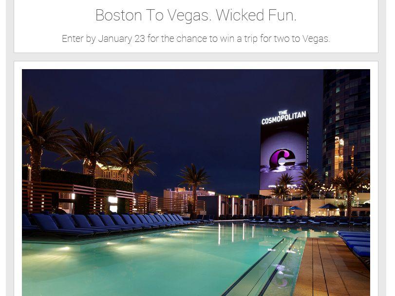 The Virgin America BOSTON TO VEGAS WICKED FUN Sweepstakes