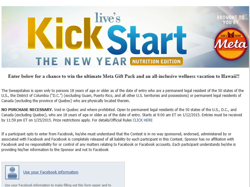 LIVE's Kick Start Sweepstakes