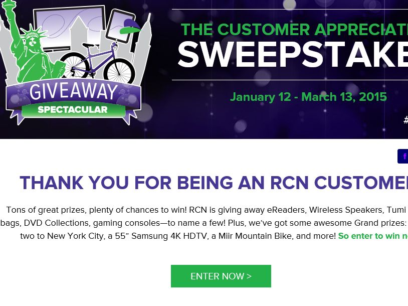 RCN Giveaway Spectacular Sweepstakes