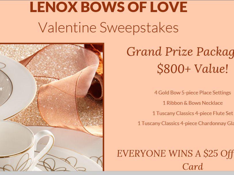 Lenox 2015 Valentines Sweepstakes