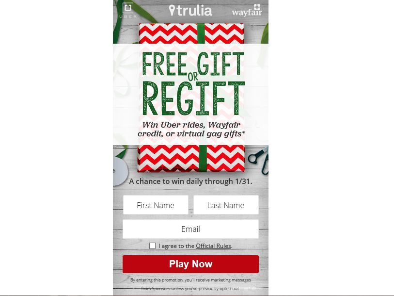 Trulia Free Gift or Regift Sweepstakes