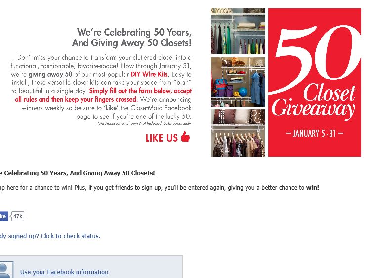 ClosetMaid 50th Anniversary Sweepstakes