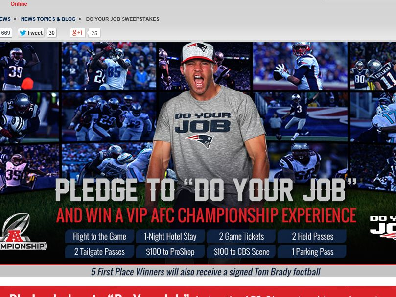 Patriots Do Your Job AFC Championship Sweepstakes