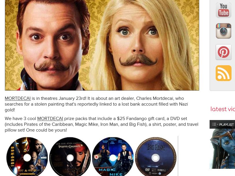 "AMC ""Mortdecai"" Giveaway Sweepstakes"