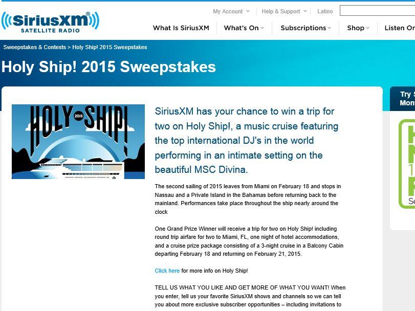The SiriusXM Holy Ship Cruise 2015 Sweepstakes