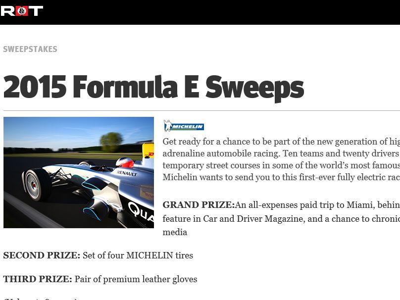 MICHELIN Formula E Sweepstakes