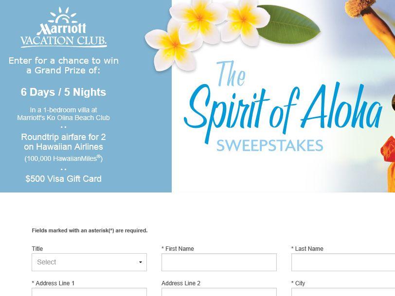 Marriott Vacation Club Spirit of Aloha Sweepstakes