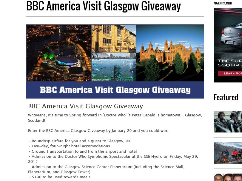 The BBC America Visit Glasgow Giveaway