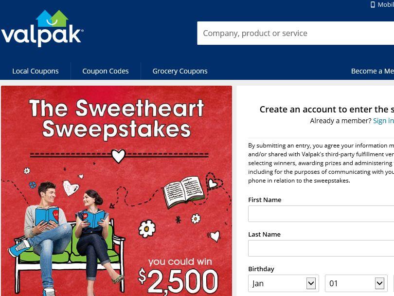 The Valpak Sweetheart Sweepstakes