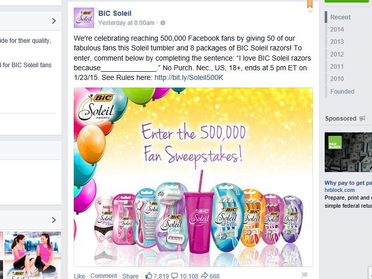 BIC Soleil 500,000 Fan Sweepstakes