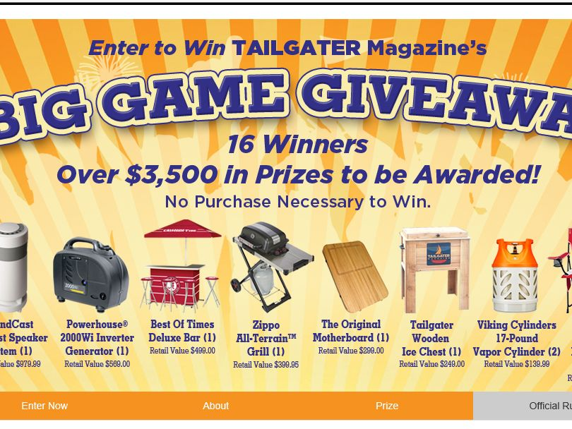 Tailgater Magazine's Big Game Giveaway