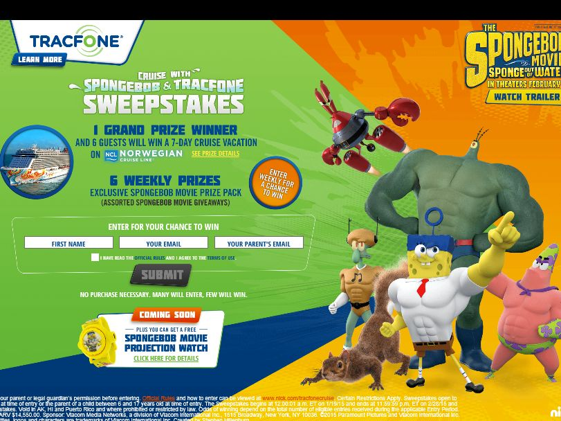Cruise with SpongeBob and TracFone Sweepstakes