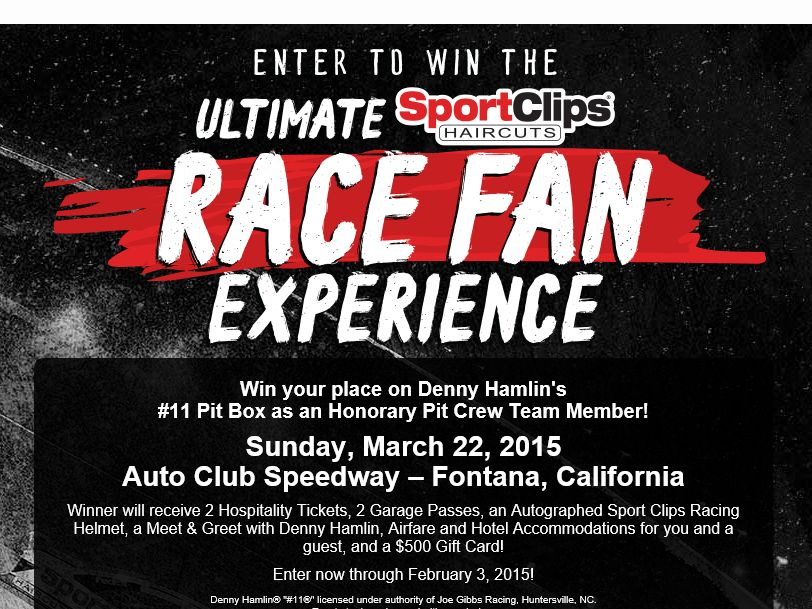"""The Sport Clips """"Ultimate Race Fan Experience – Fontana"""" Sweepstakes"""