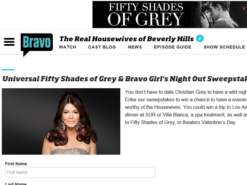 The Universal Fifty Shades of Grey & Bravo Girl's Night Out Sweepstakes