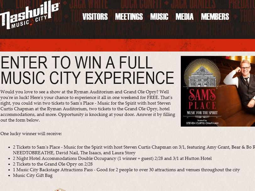 2015 Sam's Place Performance at Ryman Auditorium Giveaway