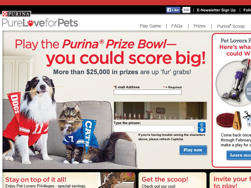 The Purina Prize Bowl Instant Win Game