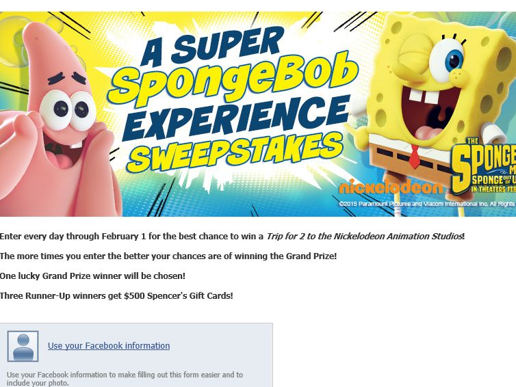 The Super SpongeBob Experience Sweepstakes