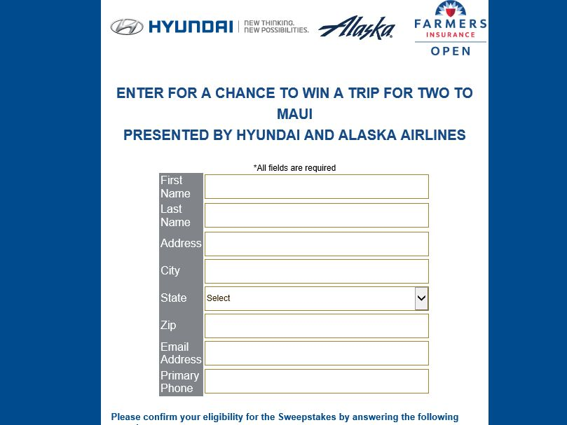 Hyundai 2015 Farmers Insurance Open Sweepstakes