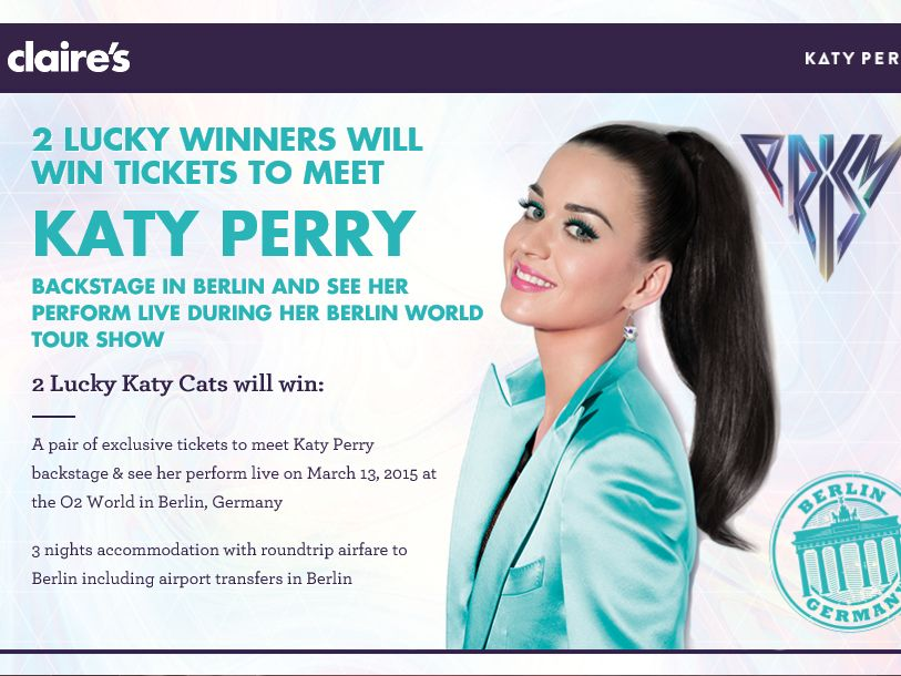 Claire's Meet Katy Perry in Berlin Sweepstakes