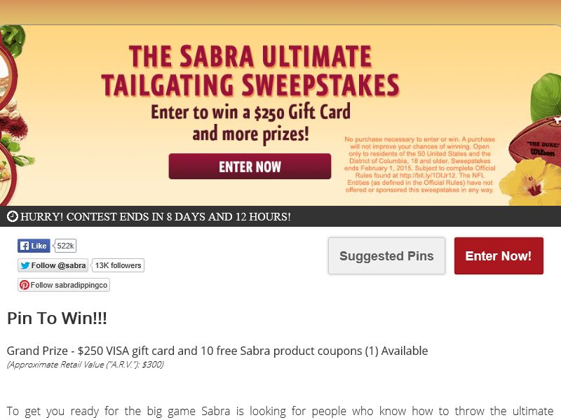 Sabra Ultimate Tailgating Pin to Win Sweepstakes