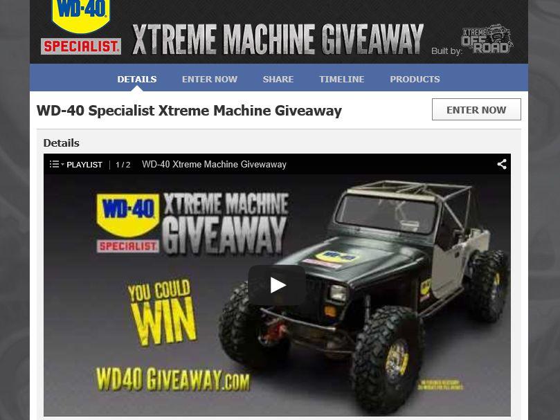 WD 40 Specialist Xtreme Machine Giveaway