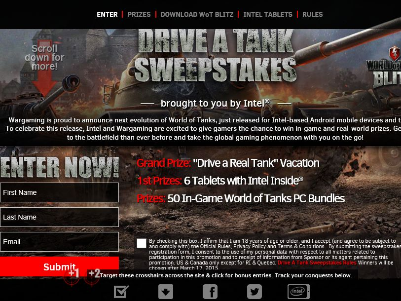 "The Intel ""Drive A Tank"" Sweepstakes"